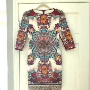 Clover Canton Scuba mini dress with sleeves